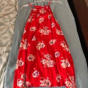 Red floral Lucky Brand Halter Dress w/ Pockets